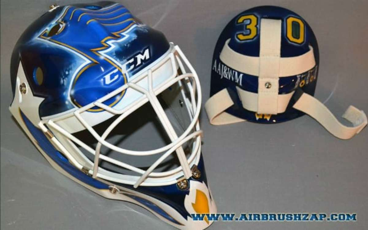 First Look At Martin Brodeur S St Louis Blues Mask Thehockeynews