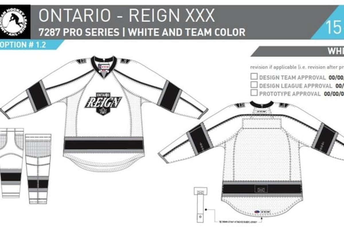 The Ontario Reigns' 2015-16 AHL home jerseys. (image courtesy of L.A. Kings)