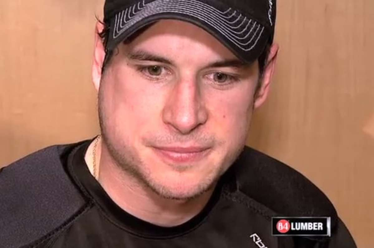 Sidney Crosby had a visibly swollen face when he met with media on Friday. (via PensTV)